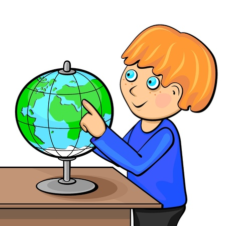 human geography: Little ginger boy touching globe with finger