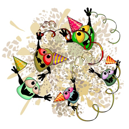 Cartoon germs with caps celebrating on dirty spot   Stock Vector - 14899838