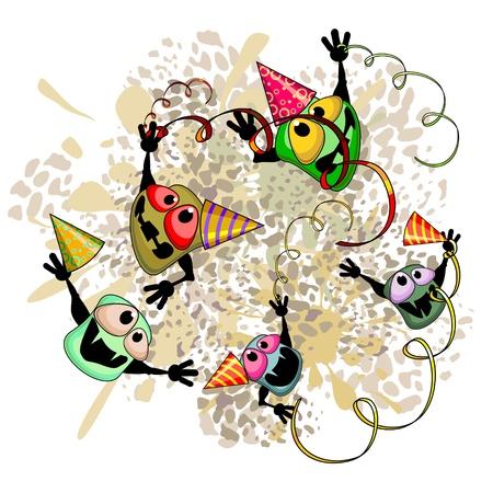 Cartoon kiemen met kappen vieren op vuile plek Stock Illustratie