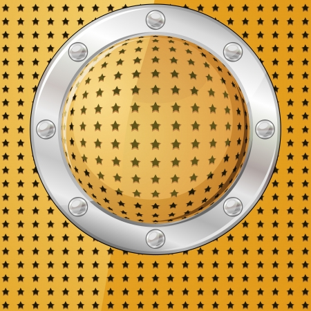 Gold ball or button on perforated surface with metal frame Vector