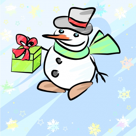 Christmas card with snowflakes and cartoon snowman with gift Vector