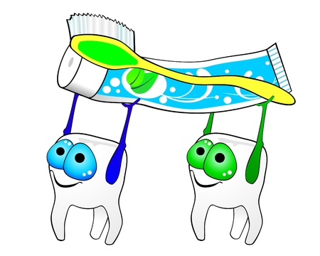 Teeth, toothbrush and toothpaste  Vector