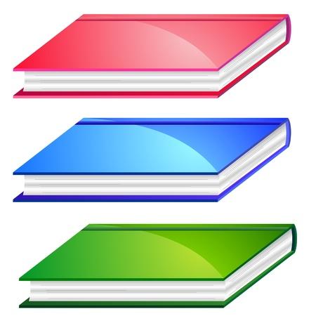 Three colorful books Иллюстрация