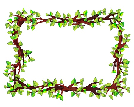 borders plants: Frame made of branches Illustration
