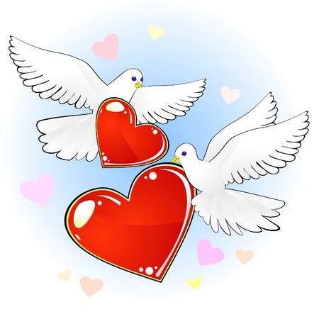 fondness: Couple of doves with red hearts Illustration