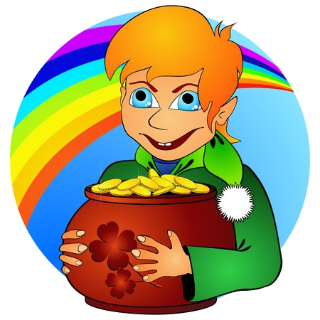 Boy elf and treasure Vector