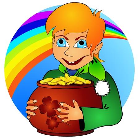 Boy elf and treasure Vector