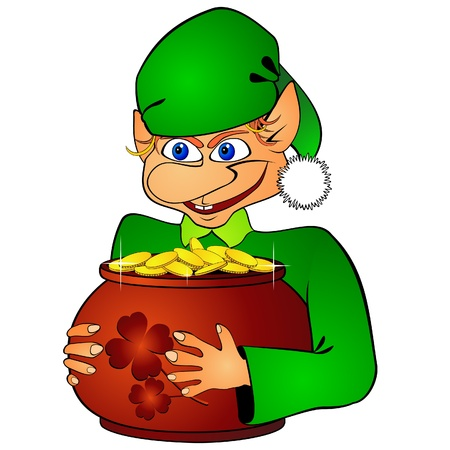Elf and treasure Vector