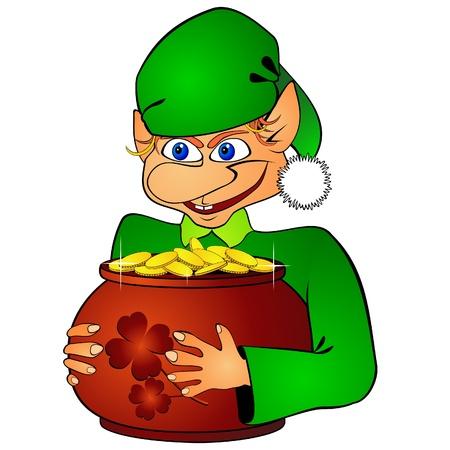 Elf and treasure Vector