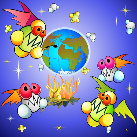 thaw: Global warming concept with cartoon molecules of methane and carbon dioxide