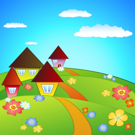 Landscape with houses Vector