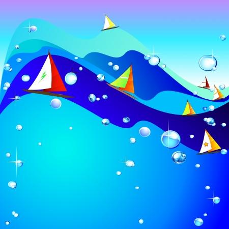 sea water: Sea and boats Illustration