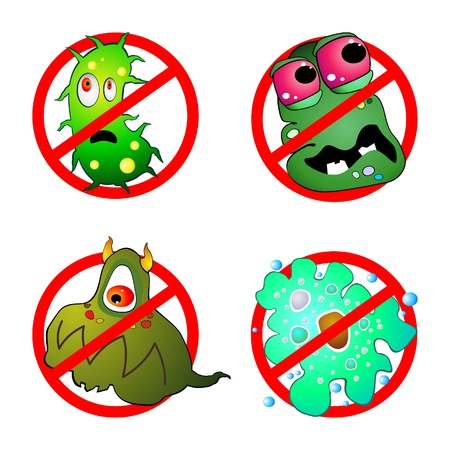 bacteria cartoon: Prohibition sign and germ