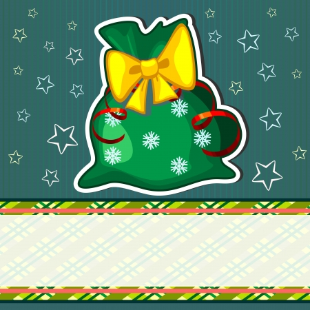 Green Christmas card with big sack with presents Vector