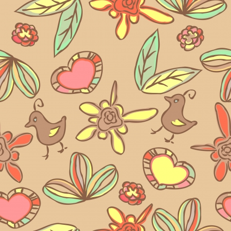 Doodle seamless background with flowers and leaves and hearts Vector
