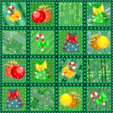 Seamless Christmas quilt background made of snippets with holiday items Vector