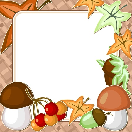 White frame with different autumn items over brown Ilustrace