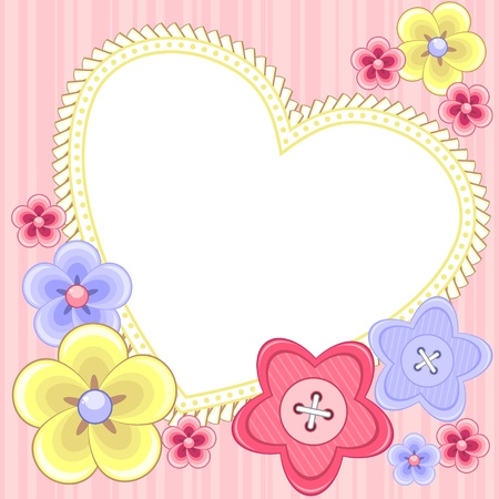 scrapbook frame: White heart with frill and decorative flowers and buttons