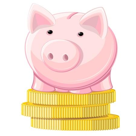 thrift: Pink hucha de pie en la pila de monedas de oro Vectores