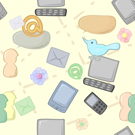 Seamless background with different items for communication Vector
