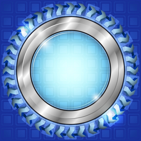 round window: Silver abstract frame or button over blue background