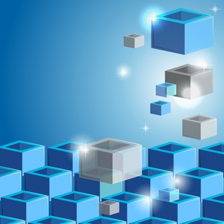 Blue abstract background with cubes or boxes Vector