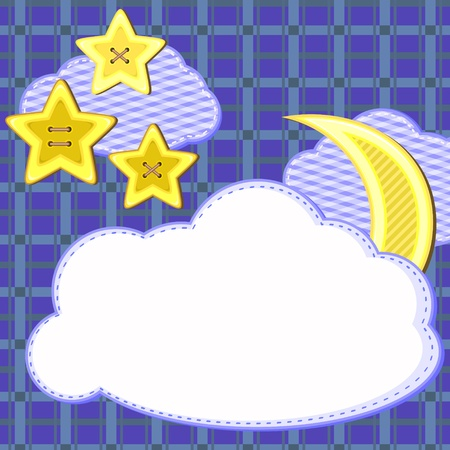 Scrapbook styled card with night sky and stars Vector