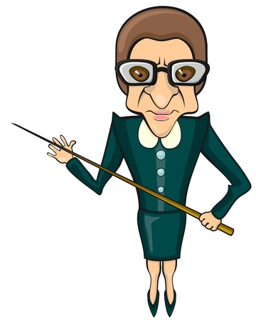 Bad tempered female full size teacher with pointer  Illustration
