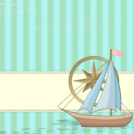 Blue vintage card with wind rose and boat Vector