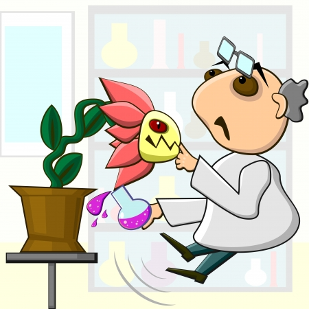 geneticist: Aggressive mutant flower biting finger of scientist Illustration