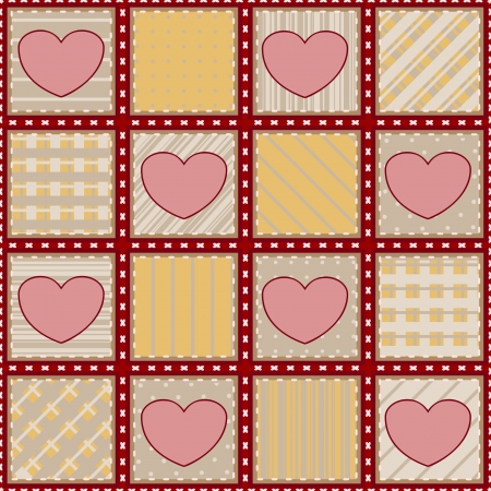 Seamless textile background with simple pink hearts Vector