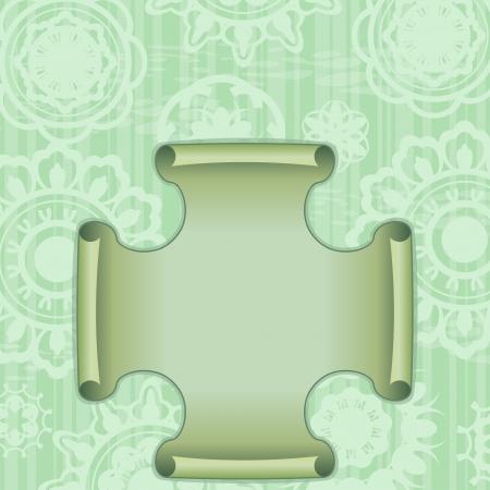 curled edges: Carta verde retr� con ornamento e l'etichetta con i bordi arricciati