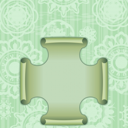 curled edges: Green retro card with ornament and label with curled edges