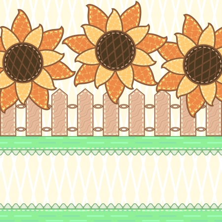 Scrapbook country background with blooming sunflowers and wooden fence Vector
