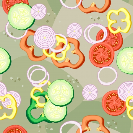 Seamless retro background with slices of different vegetanles Stock Vector - 15366098