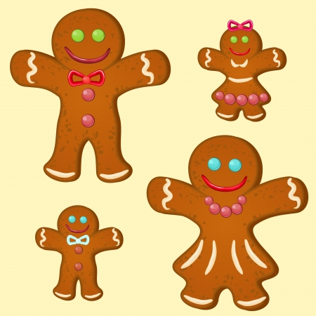 Set of four gingerbread stylized people,parents and children Vector