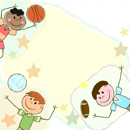 Sport background with three boys playing with different balls