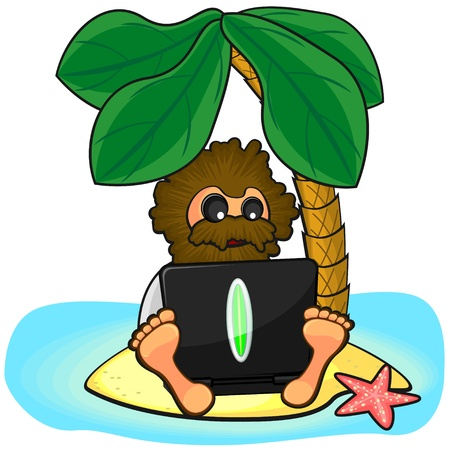 Caucasian savage with big beard and long hair using laptop on lonely island Vector