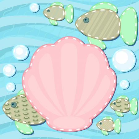 blanket fish: Marine scrapbook styled background with fish and shell Illustration
