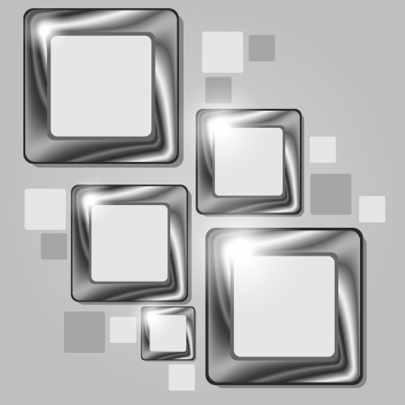 Cluster of four gray abstract frames over gray background Vector