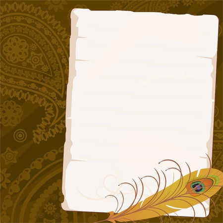 Old beige paper with feather over paisley background Vector