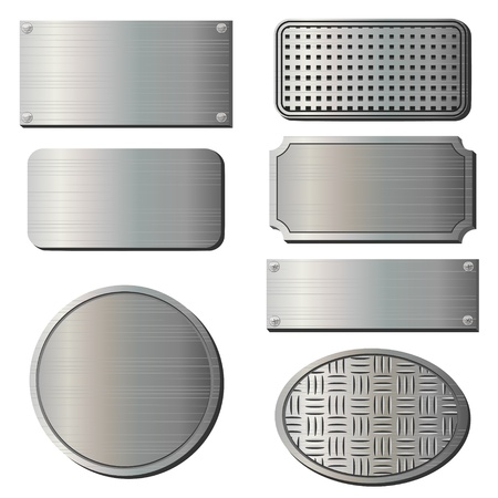 corrugated steel: Set of seven gray metal plates over white