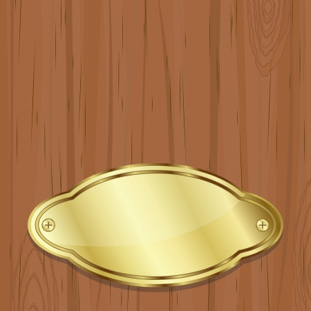 gold plaque: Simple blank golden plate over wooden board Illustration