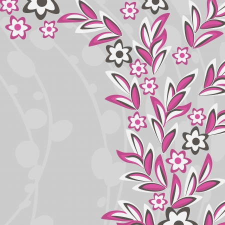 Gray abstract background with pink flowers and leaves Vector