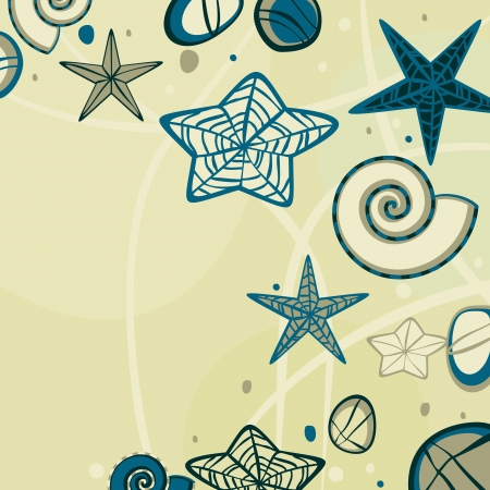 Yellow abstract sandy background with doodle starfish and pebbles Illustration