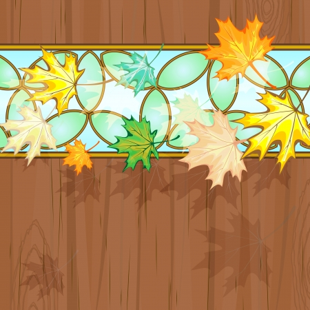 Maple leaves over wood decorated with stained glass Vector