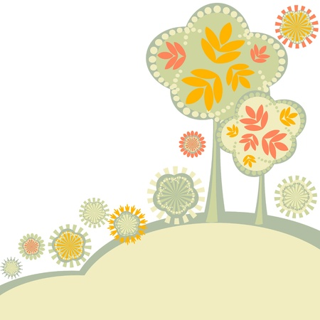 Simple background with autumn trees and stylized flowers Vector
