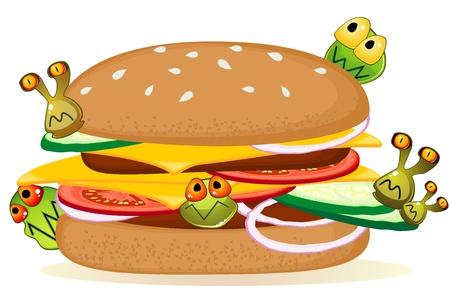 hygi�ne alimentaire: Big Hamburger d�taill�e avec des germes de bande dessin�e sur fond blanc