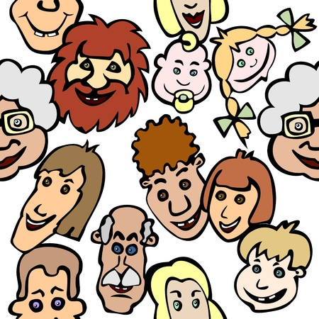 Seamless background with diversity of doodle smiling faces Vector