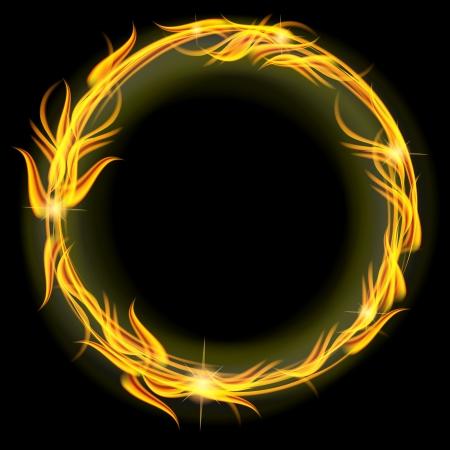 Rode en gele cirkel van vuur op een zwarte Stock Illustratie